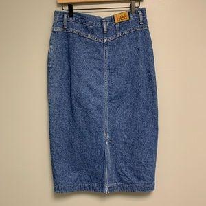 Vintage LEE denim jean midi skirt women's 14